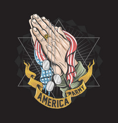 america soldier army hand pray for god with usa vector image