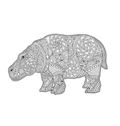 Art for coloring book page with cartoon behemoth vector