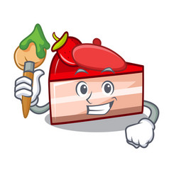 Artist strawberry cake character cartoon vector