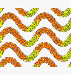 Artistic color brushed green orange braids vector