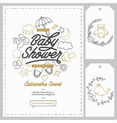 Baby shower invitation templates set Hand drawn vector