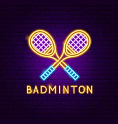 badminton neon label vector image