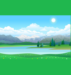 beautiful landscape with lake forest and vector image