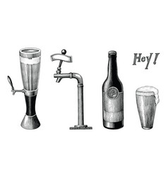beer collection vintage hand draw engraving style vector image