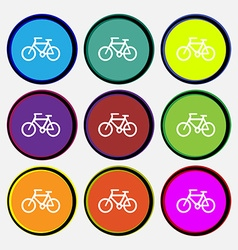 Bicycle icon sign Nine multi colored round buttons vector image