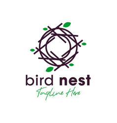 bird nest inspiration logo design vector image