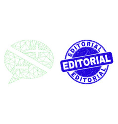 Blue scratched editorial seal and web mesh vector