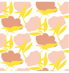 Bold flower silhouettes seamless pattern vector