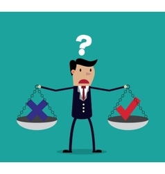 Cartoon businessman balancing cross and tick vector image