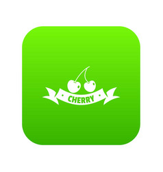 cherry icon green vector image