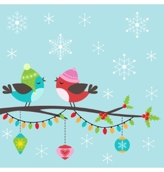 Christmas card with birds vector image