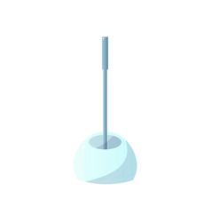 Close-up side view of toilet brush in a glass vector