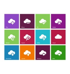 Cloud icons on color background vector image
