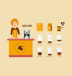Coffee shop various kinds of menus equipment vector