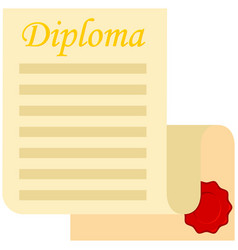 colorful cartoon open diploma scroll vector image