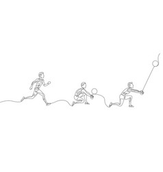 continuous one line volleyball playerstep step vector image