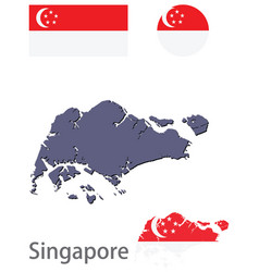 Country singapore silhouette and flag vector