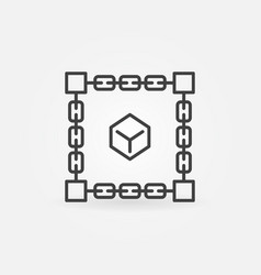 cube inside blockchain block chain linear vector image
