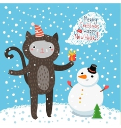 Cute cat Greeting card vector image