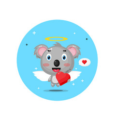 Cute cupid koala hugging love hearts vector