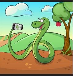 cute green snake makes selfie vector image