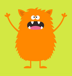 Cute orange monster icon happy halloween cartoon vector