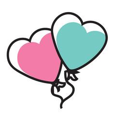 Decorative heart balloons vector