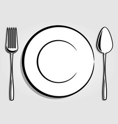 dish plate fork and spoon vector image