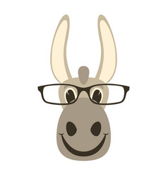donkey face in glasses front vector image