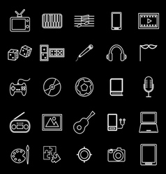 Entertainment line icons on black background vector