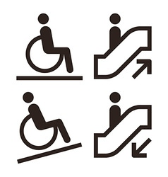 Escalator and facilities for disabled symbols vector