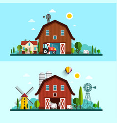 Farm with barn windmill and cows flat design vector