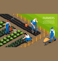 Farmer isometric horizontal composition vector