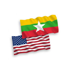 Flags myanmar and america on a white background vector