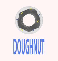 Flat icon in shading style donut logo vector