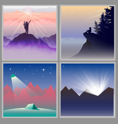 four flat designed mountain views vector image