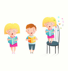 Funny sweet children study to read books library vector