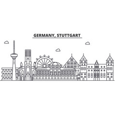 Germany stuttgart architecture line skyline vector