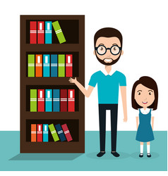 Girl with teacher and library vector