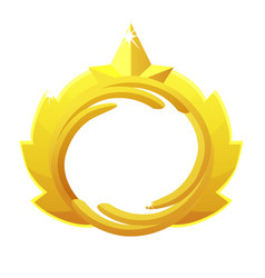 Gold game avatar luxury round frame with crown vector