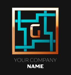 golden letter g logo symbol in the square maze vector image