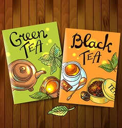 Green and black tea vector