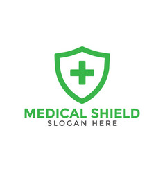 Green medical cross shield logo icon design vector