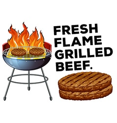 Grilled beef on the bbq stove vector