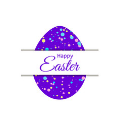 happy easter easter egg with colored dots paper vector image