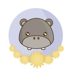 Head cute hippopotamus in frame with flowers vector