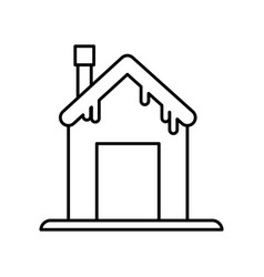 house with chimney and snow design thick line vector image