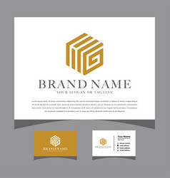 Initials letter hg logo with a business card vector
