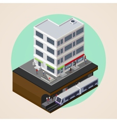 isometric 3d city street building and metro vector image