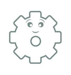 Kawaii gear wheel icon vector